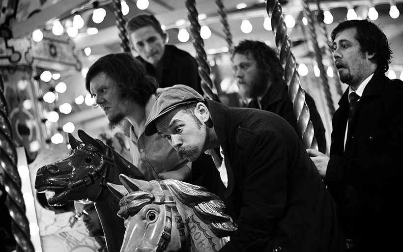 The Bedlam Six on a fairground carousel
