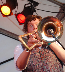 Biff Roxby playing the trombone