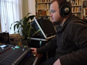 Dan Watkins at the studio desk